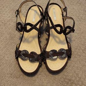Geox Respira Brown Croc Wedge Sandals